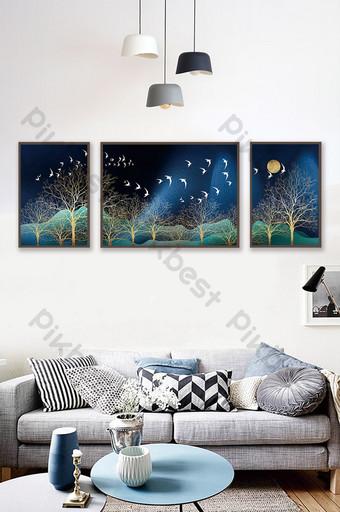 紋理紋理景觀叢林麋鹿裝飾畫 裝飾·模型 模板 PSD