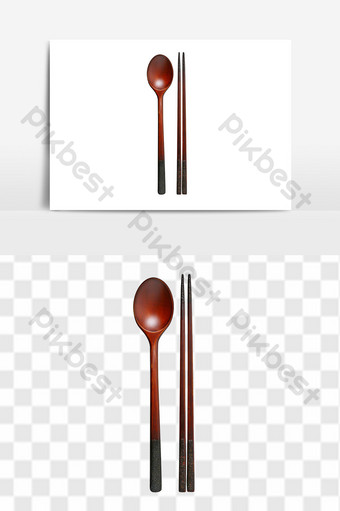 Bộ đồ ăn bằng gỗ đũa thìa Thương mại điện tử Bản mẫu PNG
