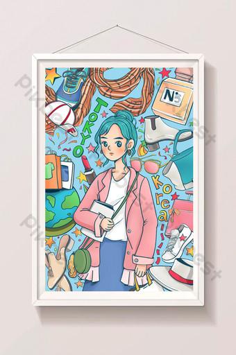 أسلوب الكتابة على الجدران اليابانية والكورية لطيف ضرب اللون التسوق عبر الإنترنت ملصق الرسوم المتحركة العالمي الهزلي الرسم التوضيحي قالب PSD