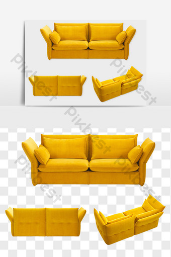 Modern yellow love seat element PNG file E-commerce Template PSD