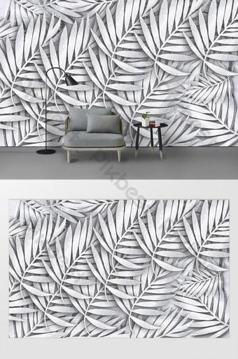 pared de fondo personalizada hoja tridimensional de plata creativa de estilo moderno Decoración y modelo Modelo PSD
