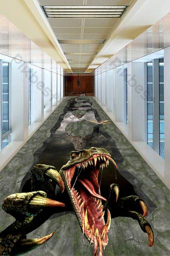 pintura de piso exterior de dinosaurio jurásico tridimensional 3d moderno y simple Decoración y modelo Modelo PSD