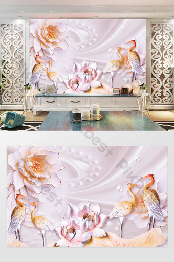 3d立體浮雕花盛開豐富而光榮的起重機電視背景牆 裝飾·模型 模板 PSD