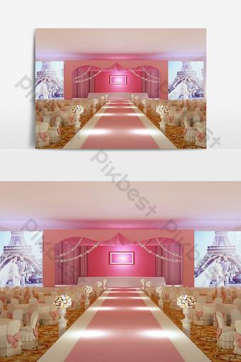 小清新酒店設計宴會舞台3d模型效果圖 裝飾·模型 模板 MAX