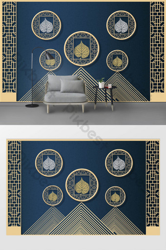 moderno creativo 3d abstracto montaña pico ventana marco hoja tv fondo pared Decoración y modelo Modelo PSD