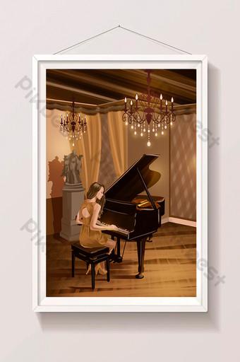 一位美麗的西方音樂家,彈鋼琴的插圖 插畫 模板 PSD