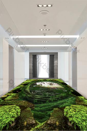 pintura de piso de bosque verde estéreo 3d moderno y simple Decoración y modelo Modelo PSD