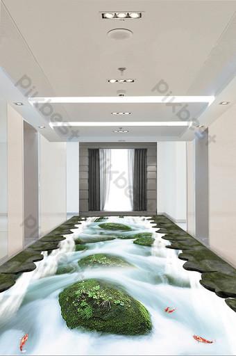 pintura de piso de paisaje de río cascada tridimensional 3d moderno y simple Decoración y modelo Modelo PSD
