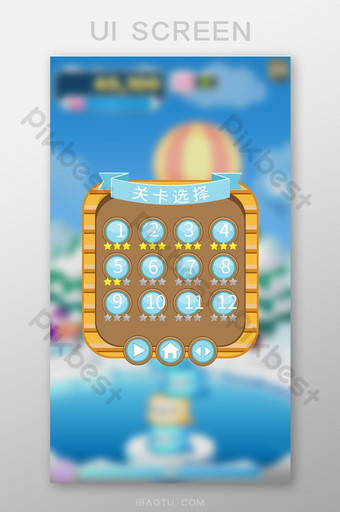 Simple retro casual mobile phone game level selection pop-up interface UI Template AI