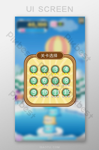 simple and style general mobile casual game level selection interface UI Template AI