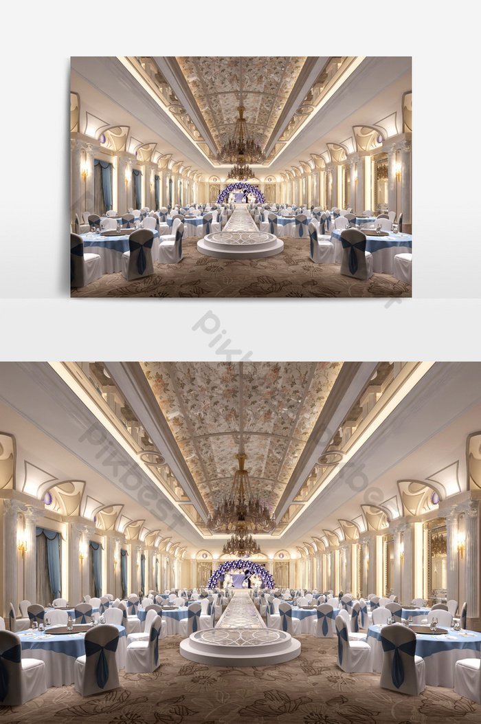 European Luxury Hotel Banquet Hall Design 3d Model Renderings Decors 3d Models Max Free Download Pikbest