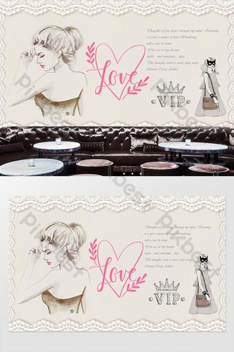 pared de fondo de tienda de ropa de belleza retro europea y americana Decoración y modelo Modelo PSD