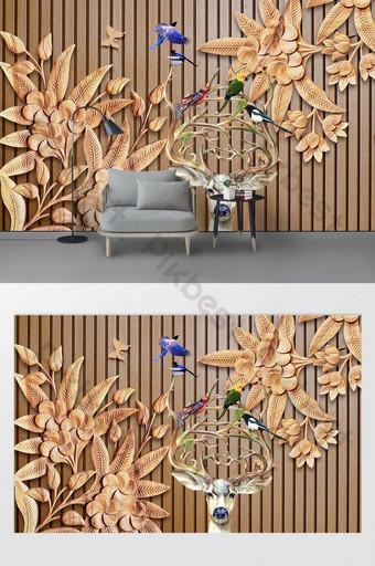 ukiran kayu modern dinding latar belakang tv burung rusa 3d Dekorasi dan model Templat PSD