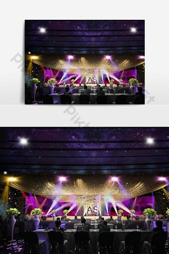 紫色金色色調眩光展示舞台設計3D模型效果圖 裝飾·模型 模板 MAX