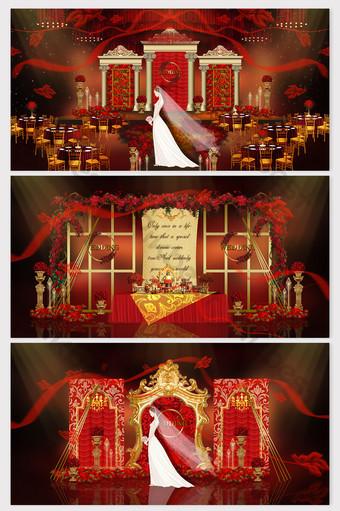 representaciones de bodas europeas de oro rojo de lujo Decoración y modelo Modelo PSD