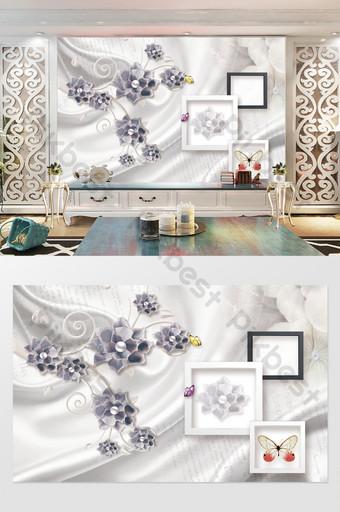 ثلاثي الأبعاد مجوهرات رائعة زهرة التلفزيون خلفية الجدار الديكور والنموذج قالب TIF