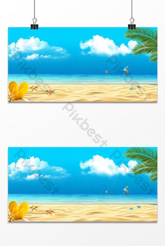 Beach sea fresh coconut tree starfish travel background Backgrounds Template PSD