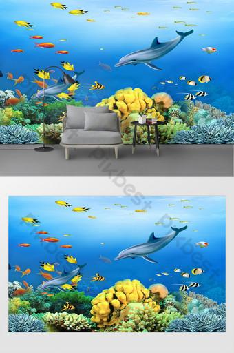 hiasan dinding latar belakang hiu dunia bawah laut modern Dekorasi dan model Templat PSD