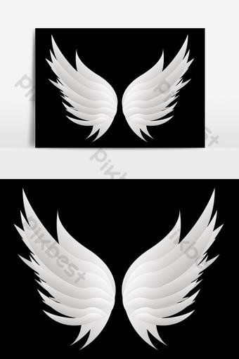 Yếu tố đôi cánh thiên thần trắng đẹp bằng tay Công cụ đồ họa Bản mẫu PSD