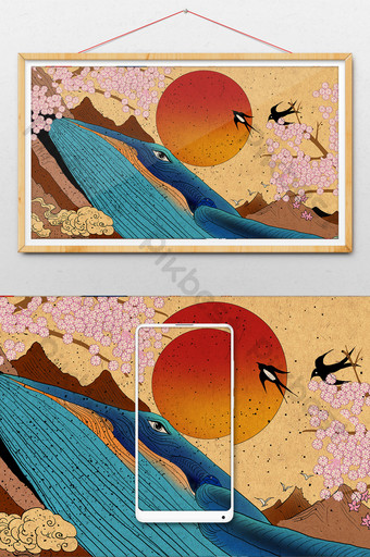 Ukiyo-e blue whale big fish ocean sea bird red day line drawing hanging painting Illustration Template PSD