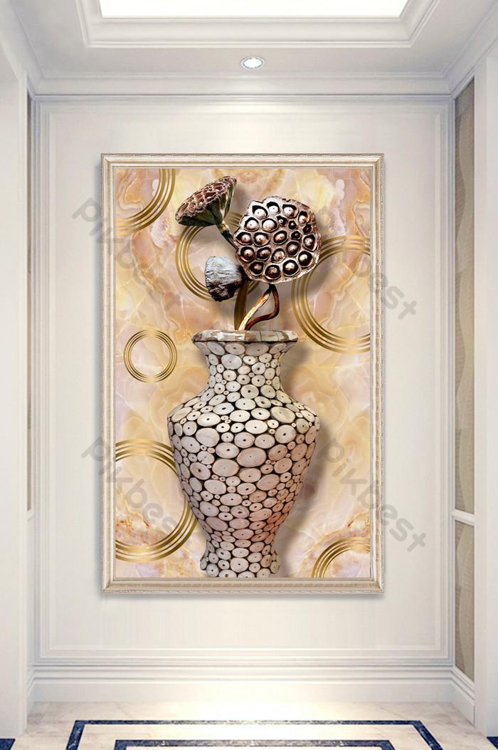 Nowy Chiński Marmur Lotosu Wazon Wazon 3d Ganek Dekoracyjne