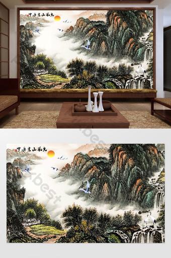 嵩山風光中國水墨山水電視背景牆 裝飾·模型 模板 PSD
