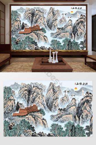 中國風水墨山水畫國畫北岳衡山風景電視背景牆 裝飾·模型 模板 PSD
