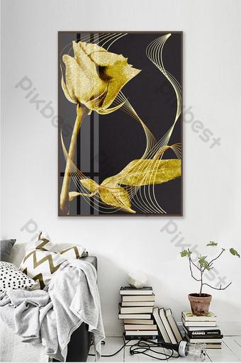 ارتفع الذهب الأسود الفاخرة زهرة تزيين المنزل اللوحة الديكور والنموذج قالب PSD