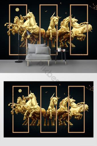 إضافات بسيطة حصان الحرب غرفة المعيشة الذهبية فندق خلفية العقارات الجدار الديكور والنموذج قالب PSD
