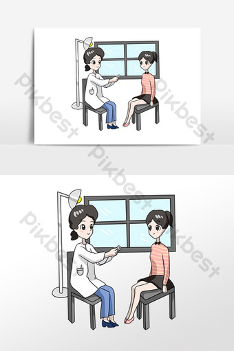 Cartoon doctor seeing a patient PNG Images Template PSD