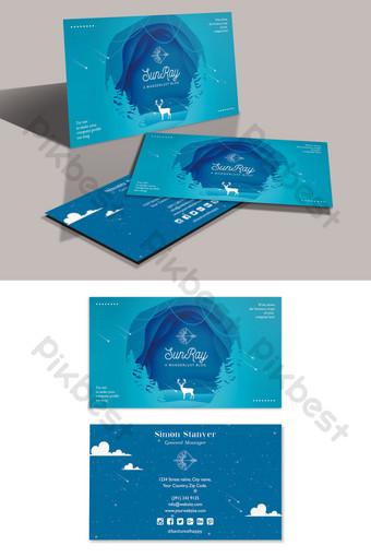 Carte de visite romantique de magasin de bijoux de cadeau de style de papier bleu d'eau Modèle PSD