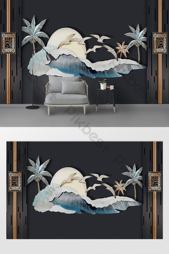 الإغاثة الأوروبية الحديثة ثلاثي الأبعاد البحر شجرة جوز الهند التلفزيون خلفية الجدار الديكور والنموذج قالب PSD