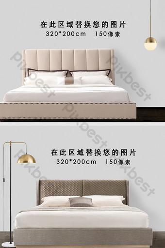 簡約歐式現代暖色溫馨風格場景臥室背景牆樣品 裝飾·模型 模板 PSD