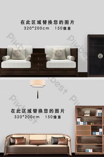中國風新室內沙發場景背景牆樣機 裝飾·模型 模板 PSD