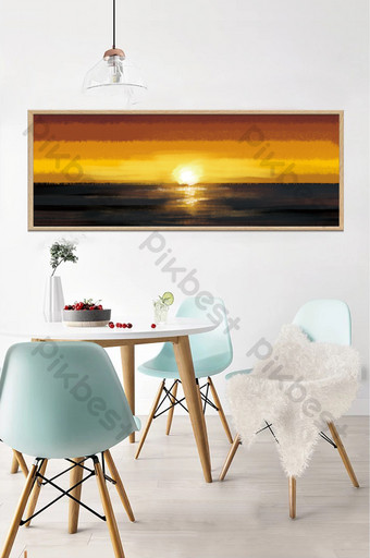 drawing oil painting sea sunrise decorative Decors & 3D Models Template PSD