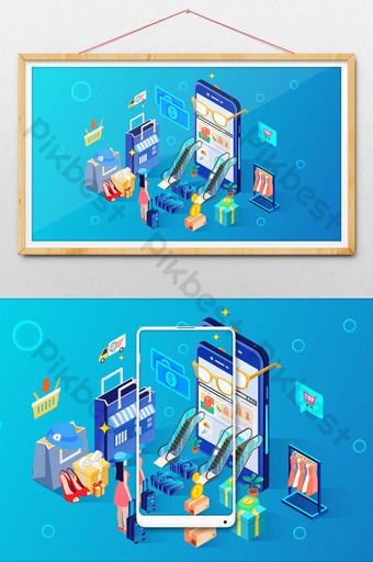 Ilustración de compras de vida 2 5d Ilustración Modelo AI