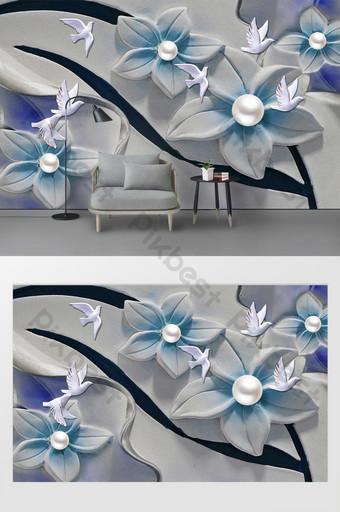الحديث 3d ثلاثي الأبعاد زهرة اللؤلؤ الإغاثة الطيور التلفزيون خلفية الجدار الديكور والنموذج قالب PSD