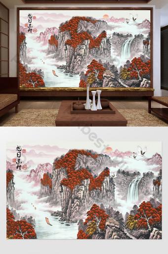 pintura de estilo chino agua corriente haciendo dinero sol naciente tv fondo pared Decoración y modelo Modelo PSD