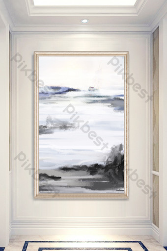abstract oil painting sea sailing smooth porch decorative Decors & 3D Models Template PSD