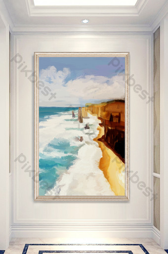 modern drawing oil painting cliff coast sea wave entrance decorative Decors & 3D Models Template PSD