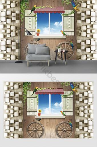 Креативный 3d вид древесины за окном попугай ТВ фон стена Украшение и модель шаблон PSD