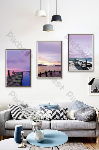 Nordic style evening seaside scenery living room hotel decoration painting Decors & 3D Models Template PSD