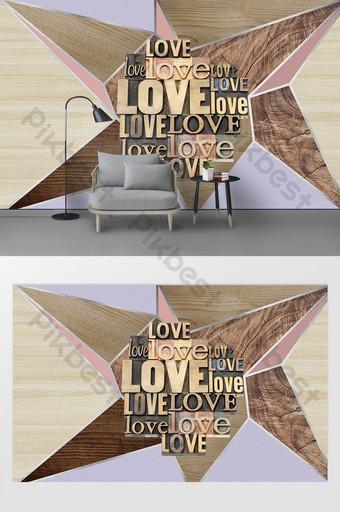 現代幾何三角木紋拼接英文字母電視背景牆 裝飾·模型 模板 PSD
