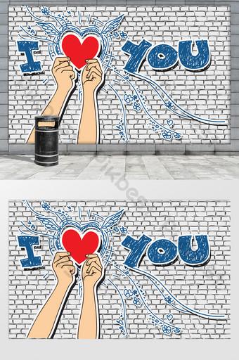 moda personalidad creativa pintada a mano graffiti te amo neta fondo rojo pared Decoración y modelo Modelo PSD