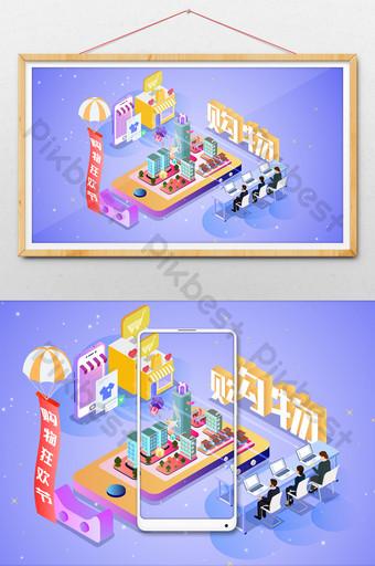 Ilustración de compras en línea móvil ciudad 2 5d Ilustración Modelo AI