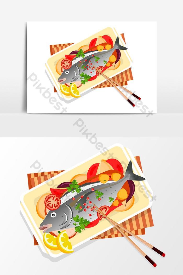 Unsur Reka Bentuk Ikan Makanan Kartun Elemen Grafik Ai Percuma