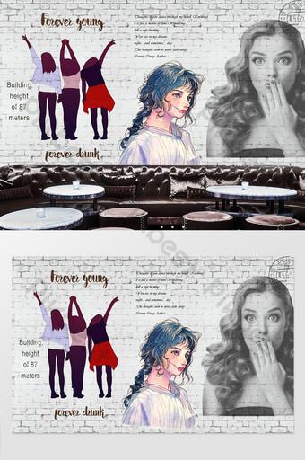 fondo de tienda de ropa de belleza pintada a mano de pared de ladrillo Decoración y modelo Modelo PSD
