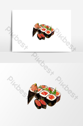 drawing seaweed rice bag element design PNG Images Template PSD