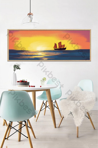 drawing oil painting sea sailing sunset decorative Decors & 3D Models Template PSD