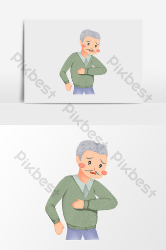 dibujado a mano elementos de ilustración de anciano enfermo Ilustración Modelo PSD